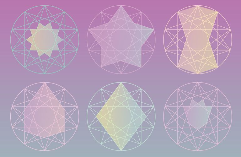 Various pentagram designs, Enneagram, Decagram, Endekagram, and Dodekagram
