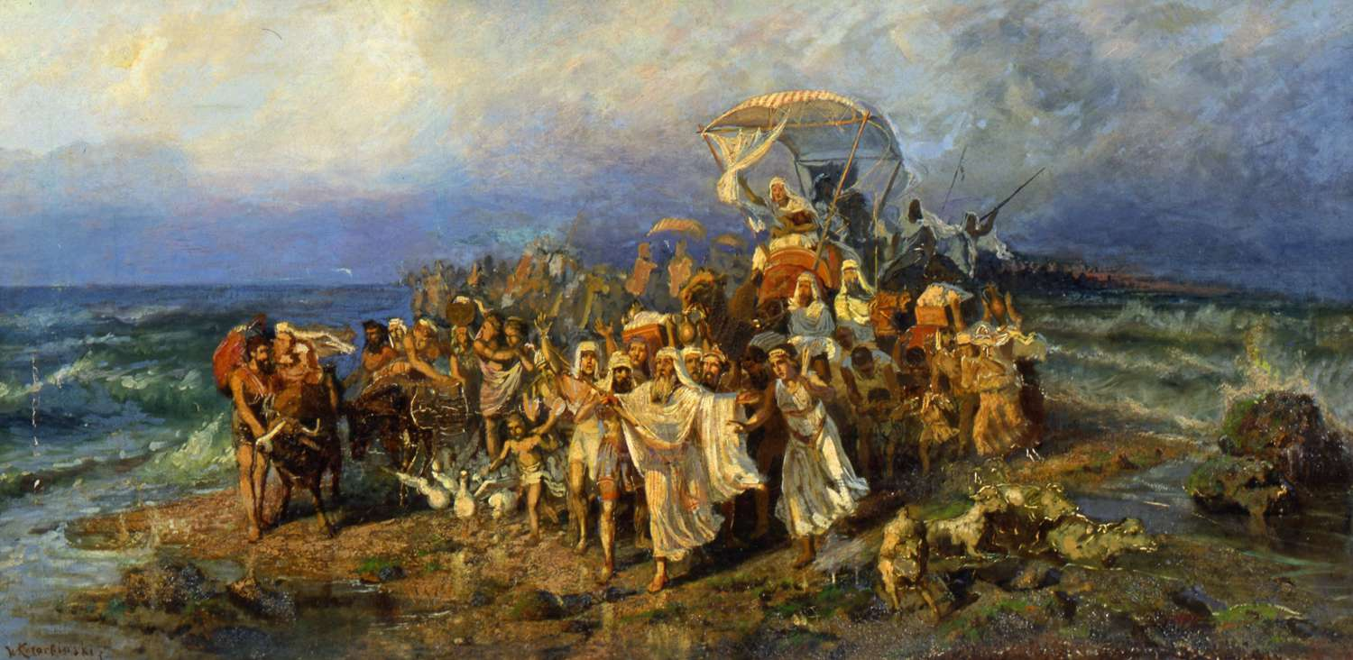 The Israelites crossing the Red Sea