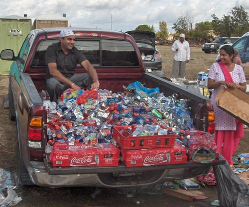 Pickup Truck Filled With Free Beverages Along the Yuba City Sikh Parade Route
