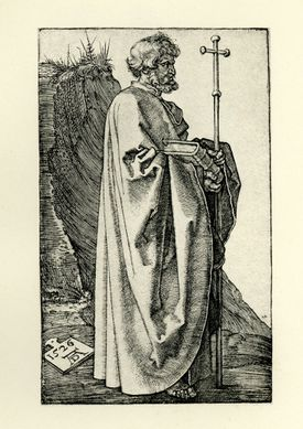 Vintage engraving by Albrech Durer, showing Saint Philip the Apostle, 1526