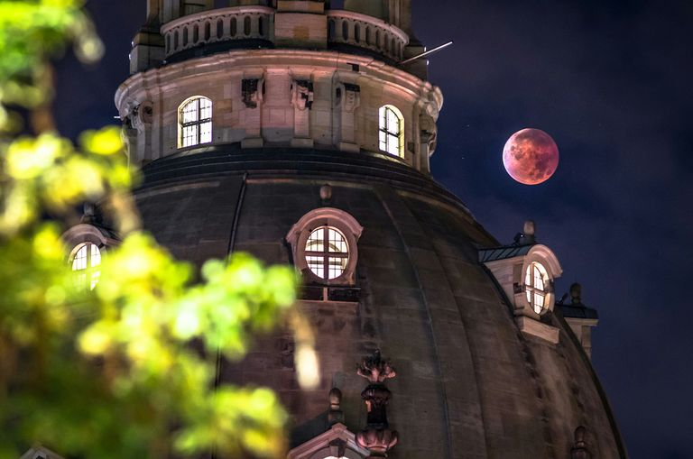 Dresden Frauenkirche Against Blood Moon Night