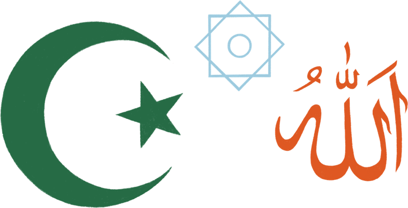 A star and crescent symbol, calligraphy Allah, and rub el hizb