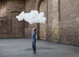 woman with cloud above head