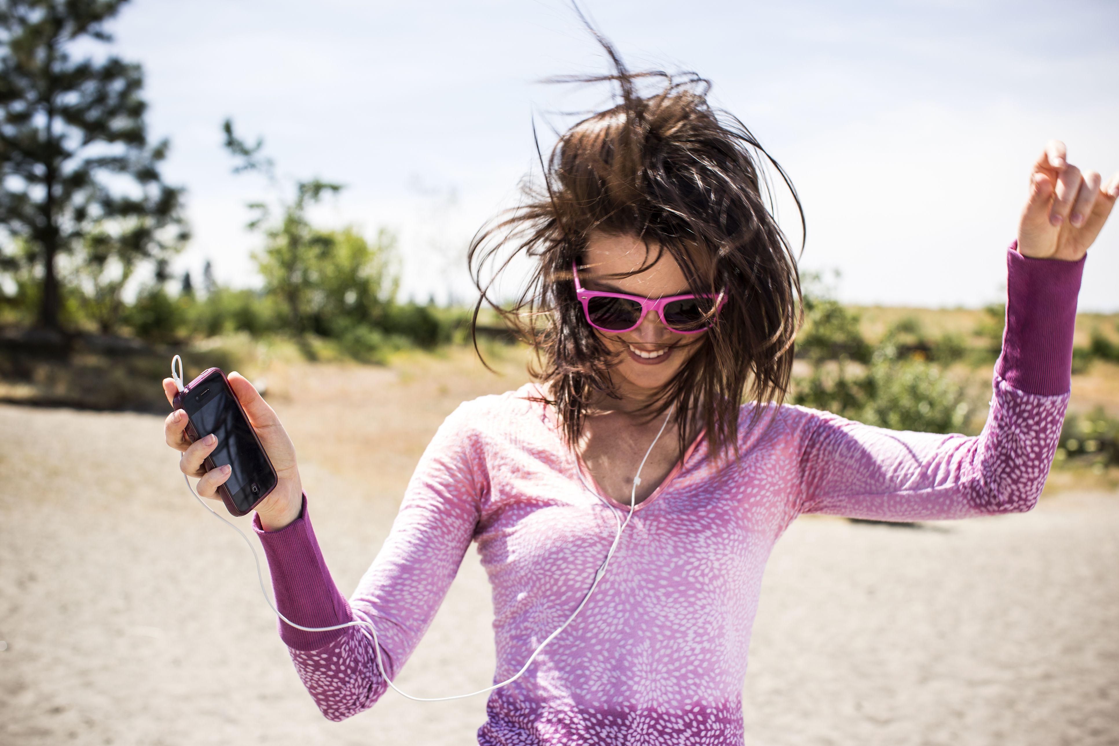 Girl dancing to music
