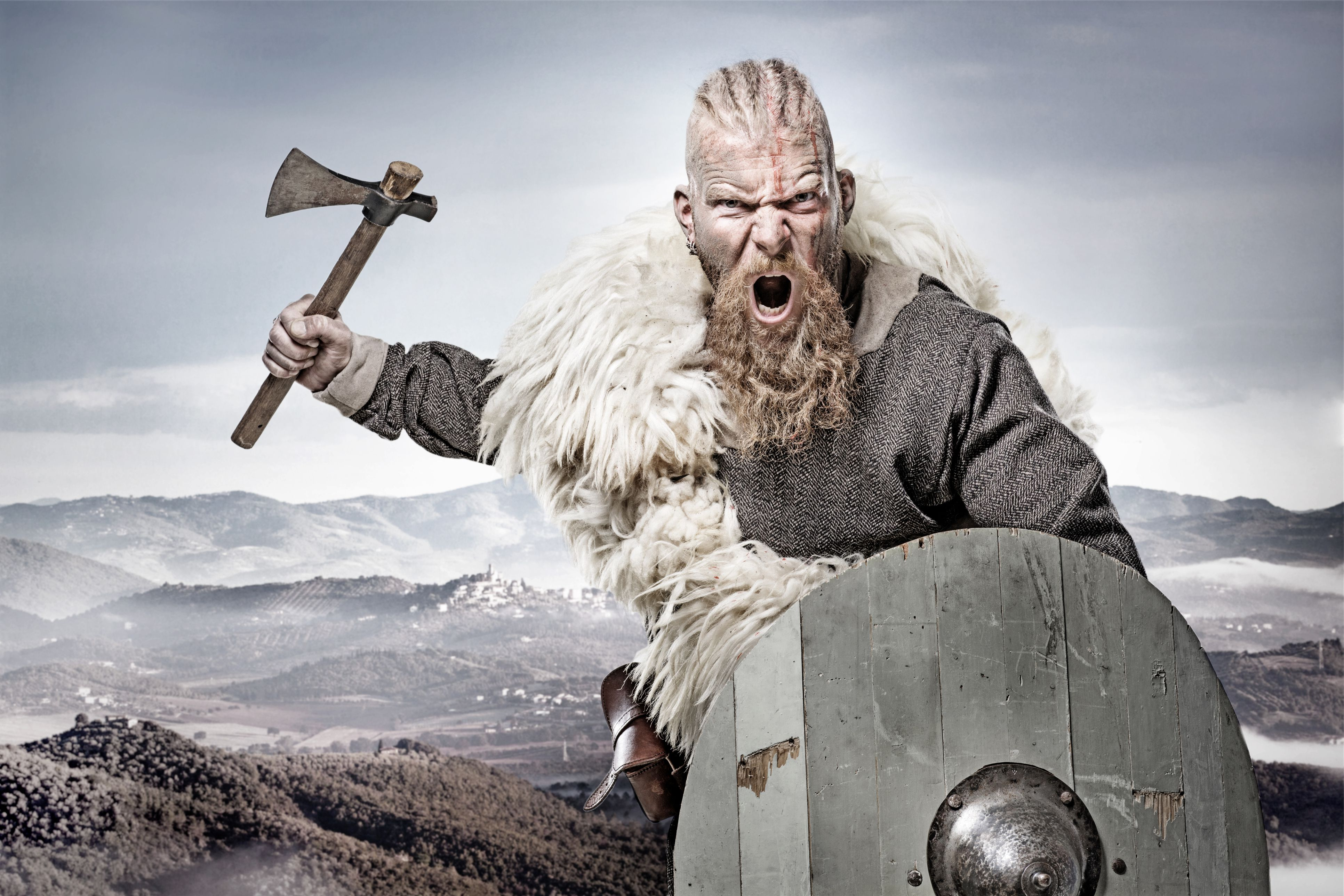 Viking warrior against mountain range