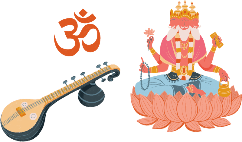 Brahma, a veena, and the om symbol