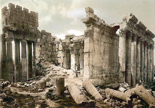 Baalbek Temple of Bacchus: Interior, Ruined Cella of the Temple of Bacchus at Baalbek, Lebanon