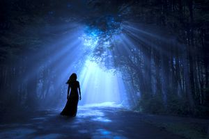 woman in moonlight glade