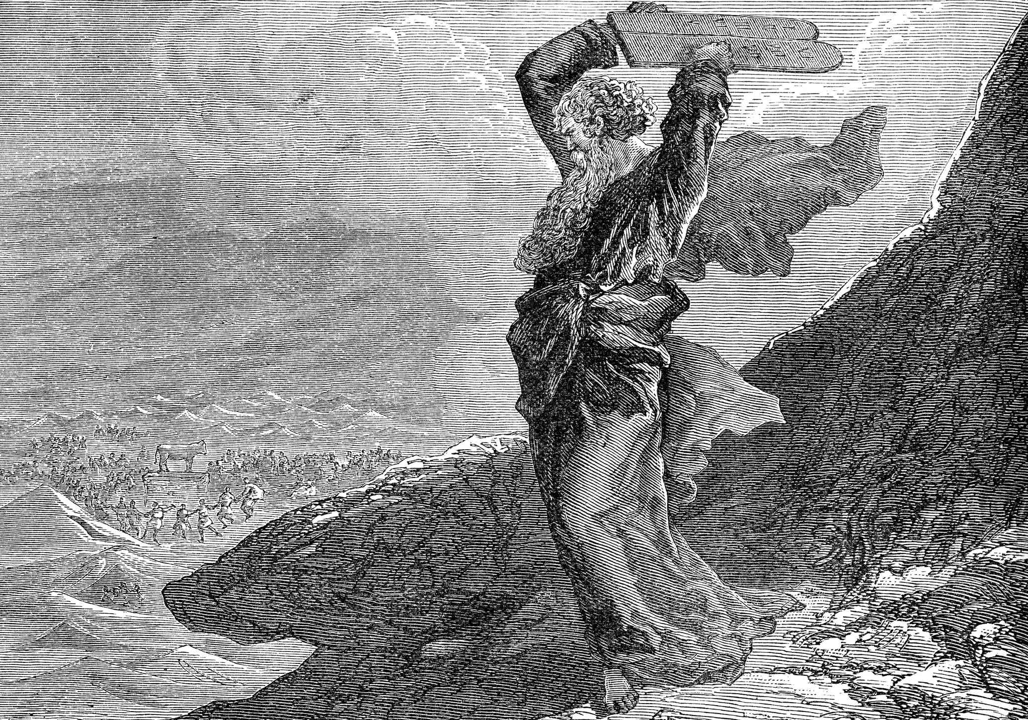 Moses breaking the two tablets of stone