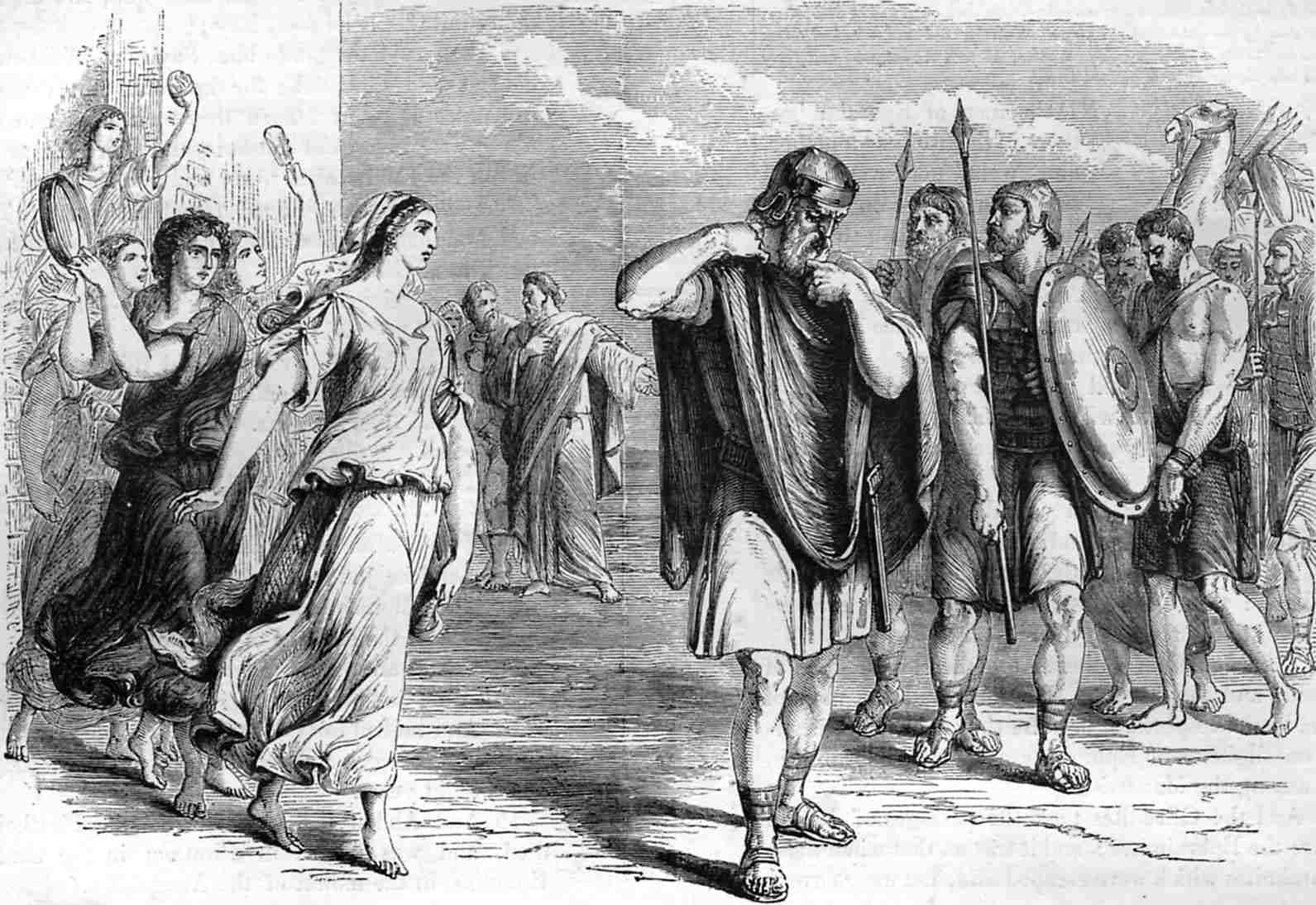 Jephthah met by his daughter