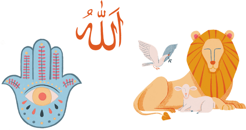 Symbols of Abrahamic religions, including a lion, dove, the hamsa, and the calligraphy for Allah.
