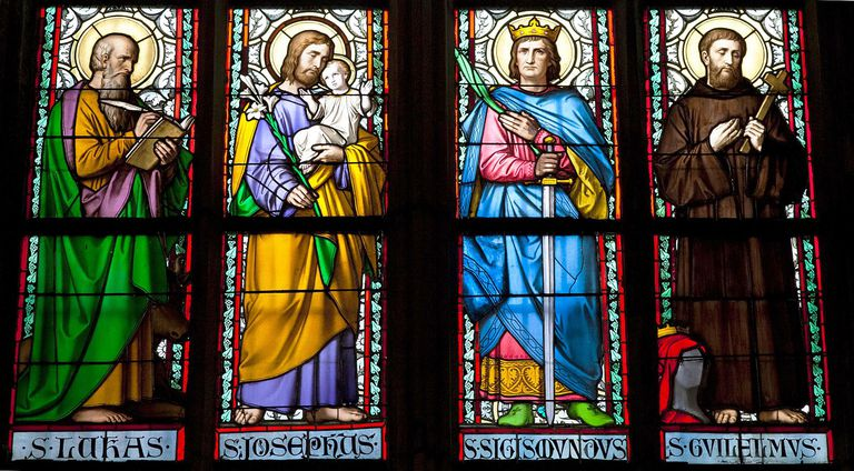 Stained galss window in St Vitus Cathedral