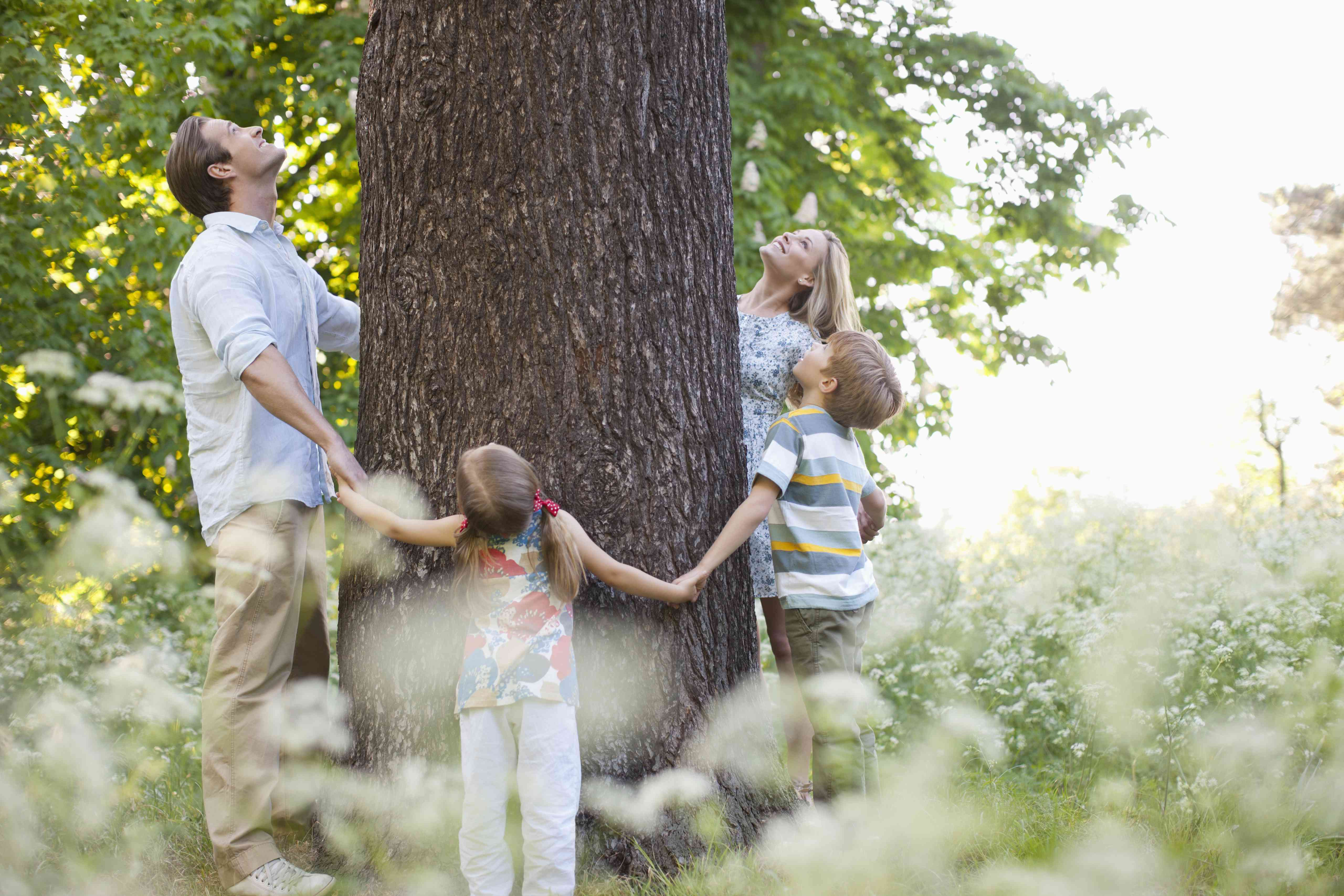 Family standing in circle around tree