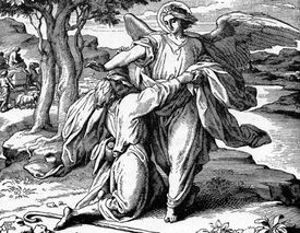 Sketch of Jacob wrestling with the angel.