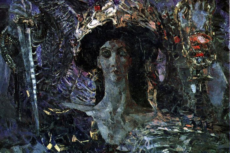 Abstract painting of the Six-winged Seraph (Azrael) by Mikhail Vrubel (1904).