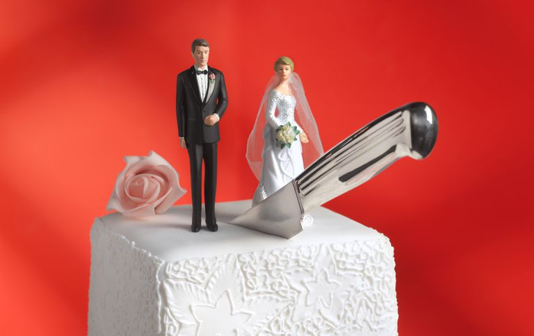 Wedding cake with a knife