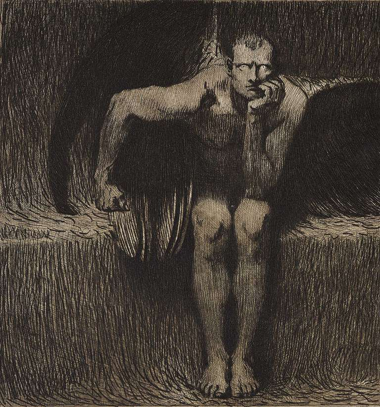 Illustration of Lucifer sitting by Franz von Stuck