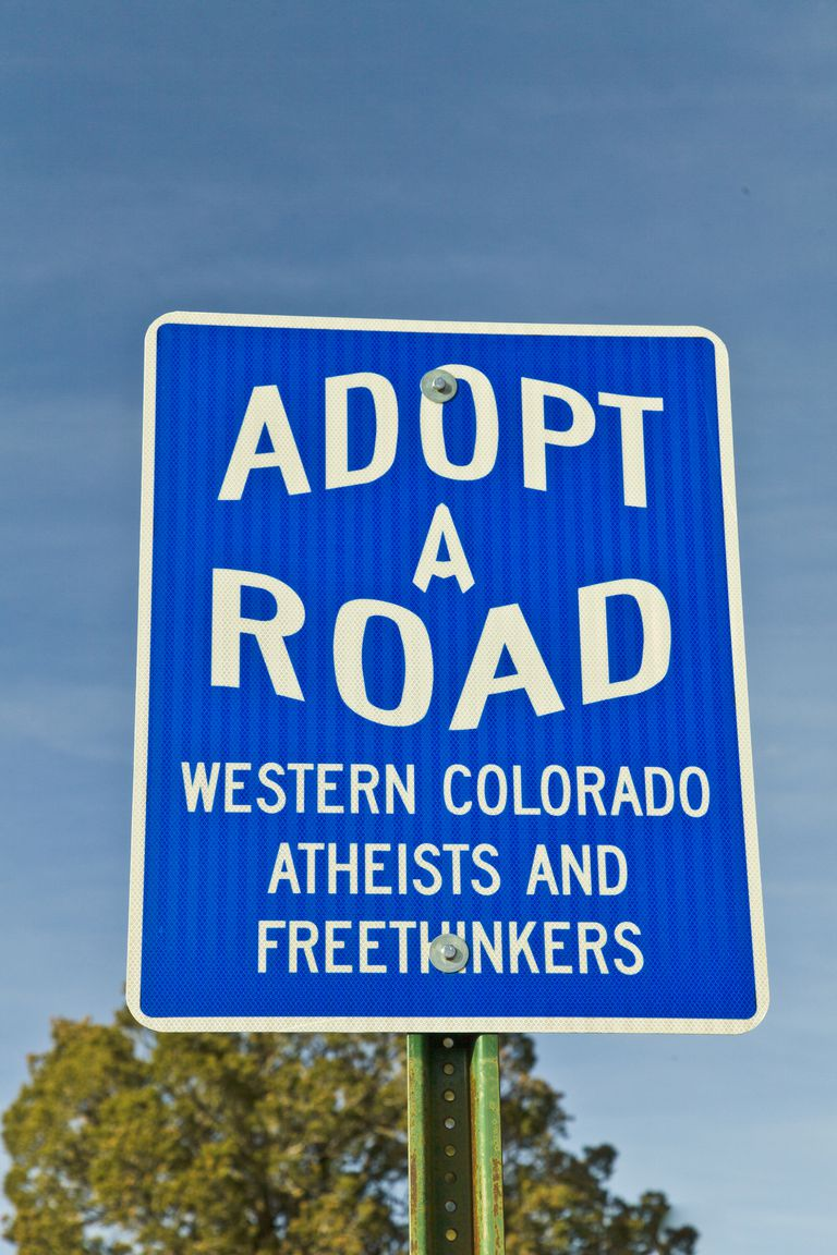 Adopt the Road sign posted by atheists