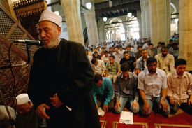 Led by an Imam, Muslims pray at Al-Azhar Mosque in Egypt