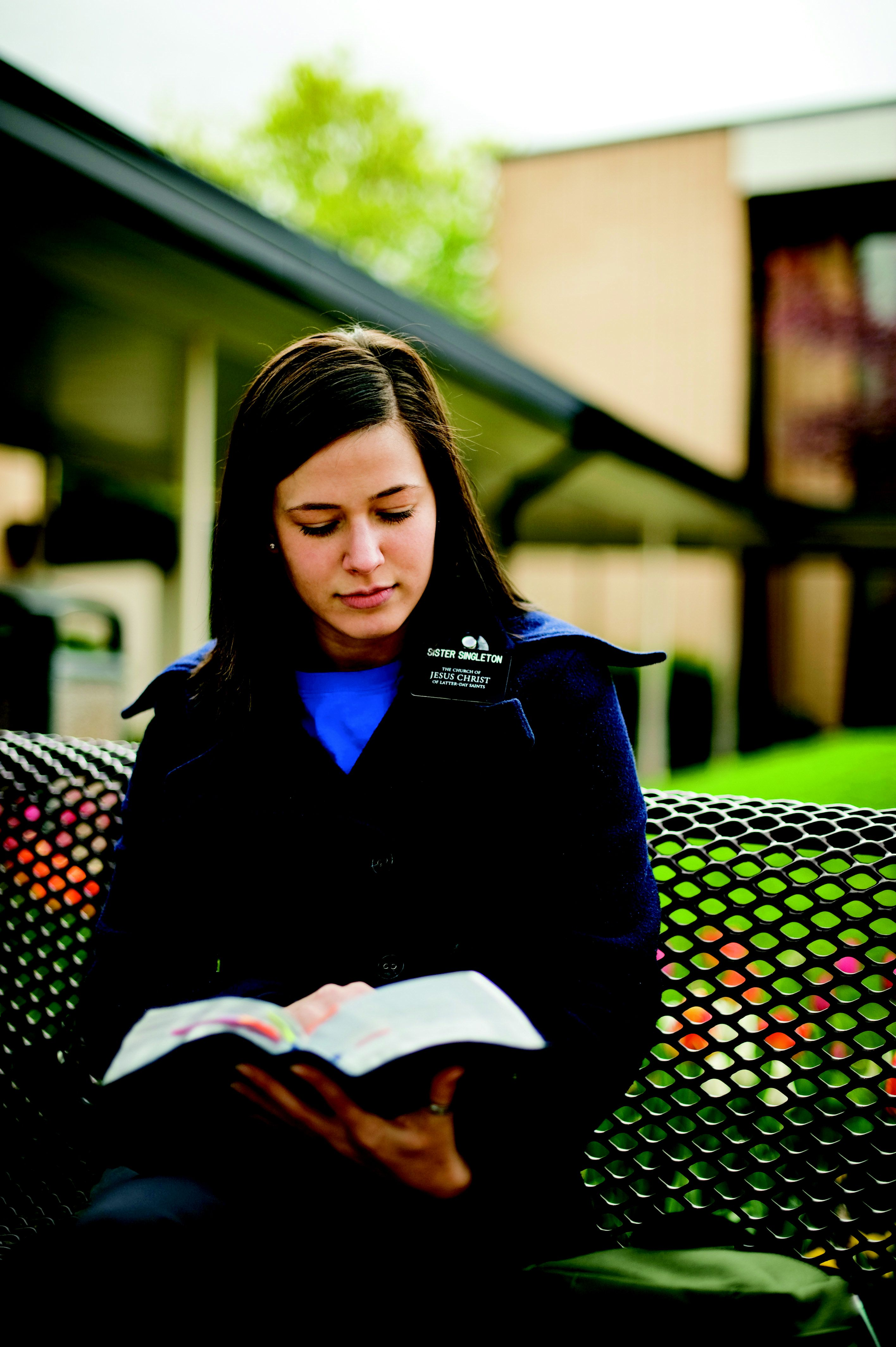 Sister Missionary at the MTC studying scripture