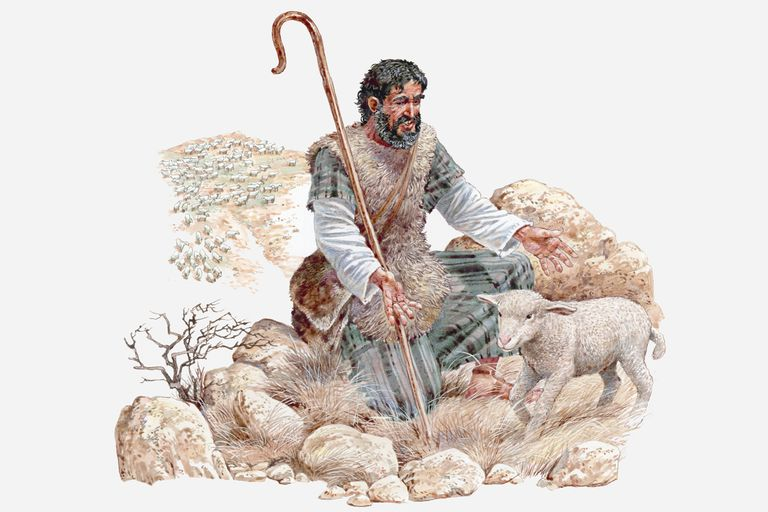 Illustration of shepherd finding his lost sheep, Gospel of Matthew