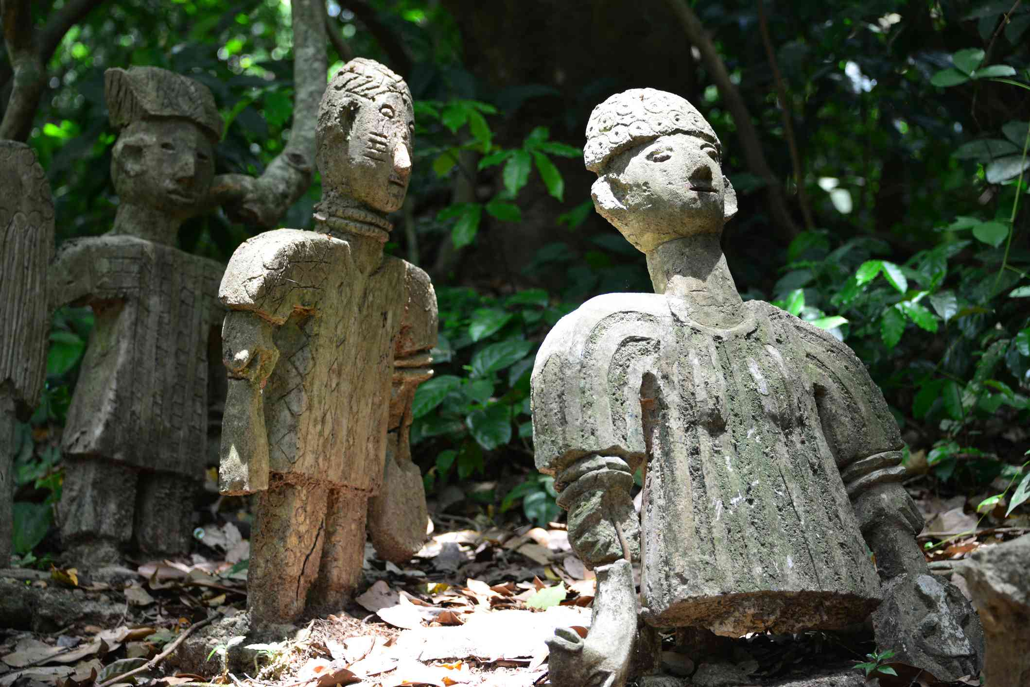 Old religious figures in the forest - Osun-Osogbo Sacred Grove (UNESCO World Heritage), Osogbo, Nigeria