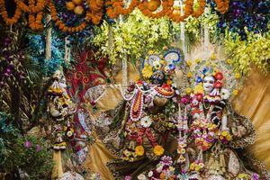 Krishna and Radha statues decorated in Hindu temple