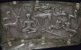 Detail from the Celtic Gundestrop Cauldron, 3rd century.