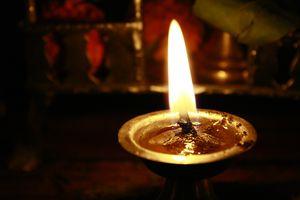 Oil lamp burning.