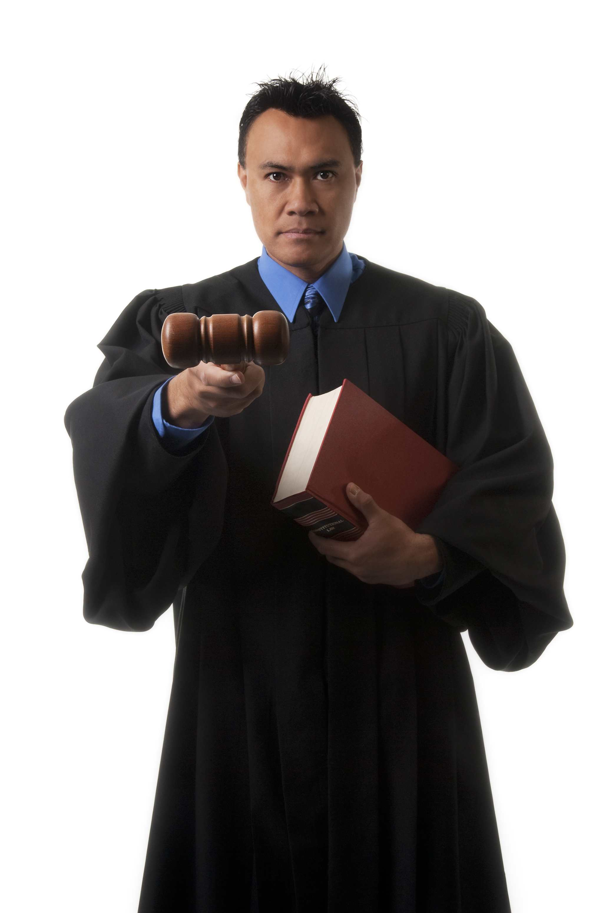 Judge with gavel and book.
