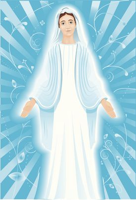 Mother Mary blessing with hands