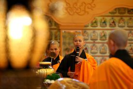 Buddhist nuns conducting a service at the Fo Guang Shan Temple in Perth, Australia.