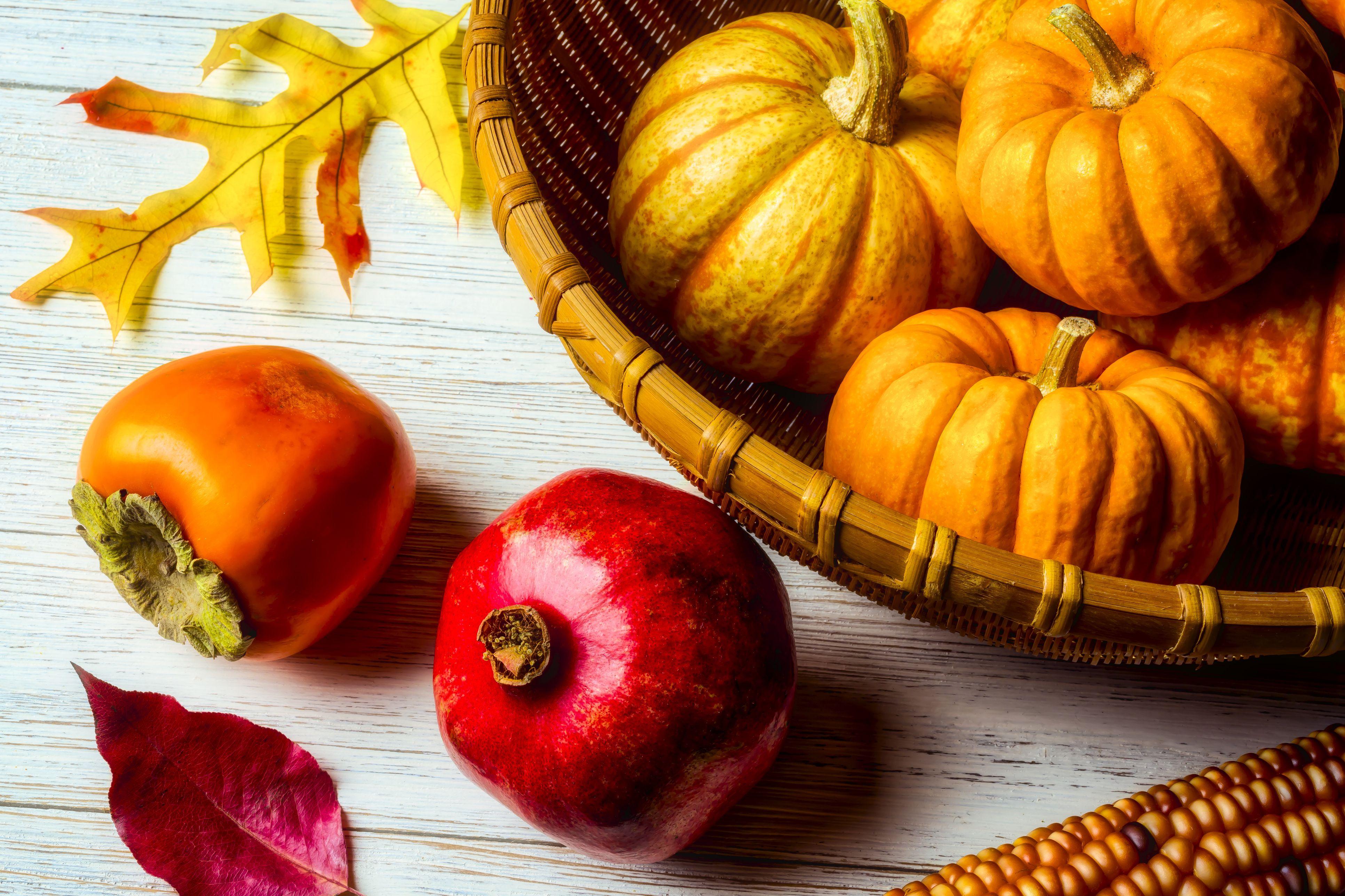 Pomegranate And Basket Of Pumpkins