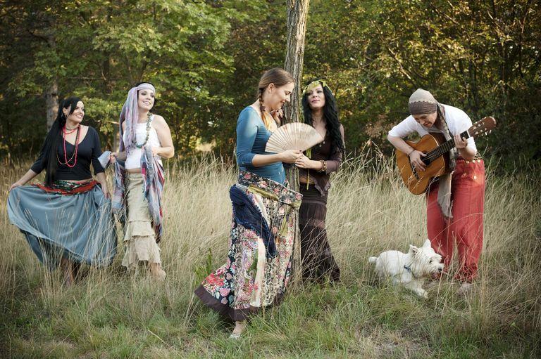 Women Dancing in a Circle Outdoors