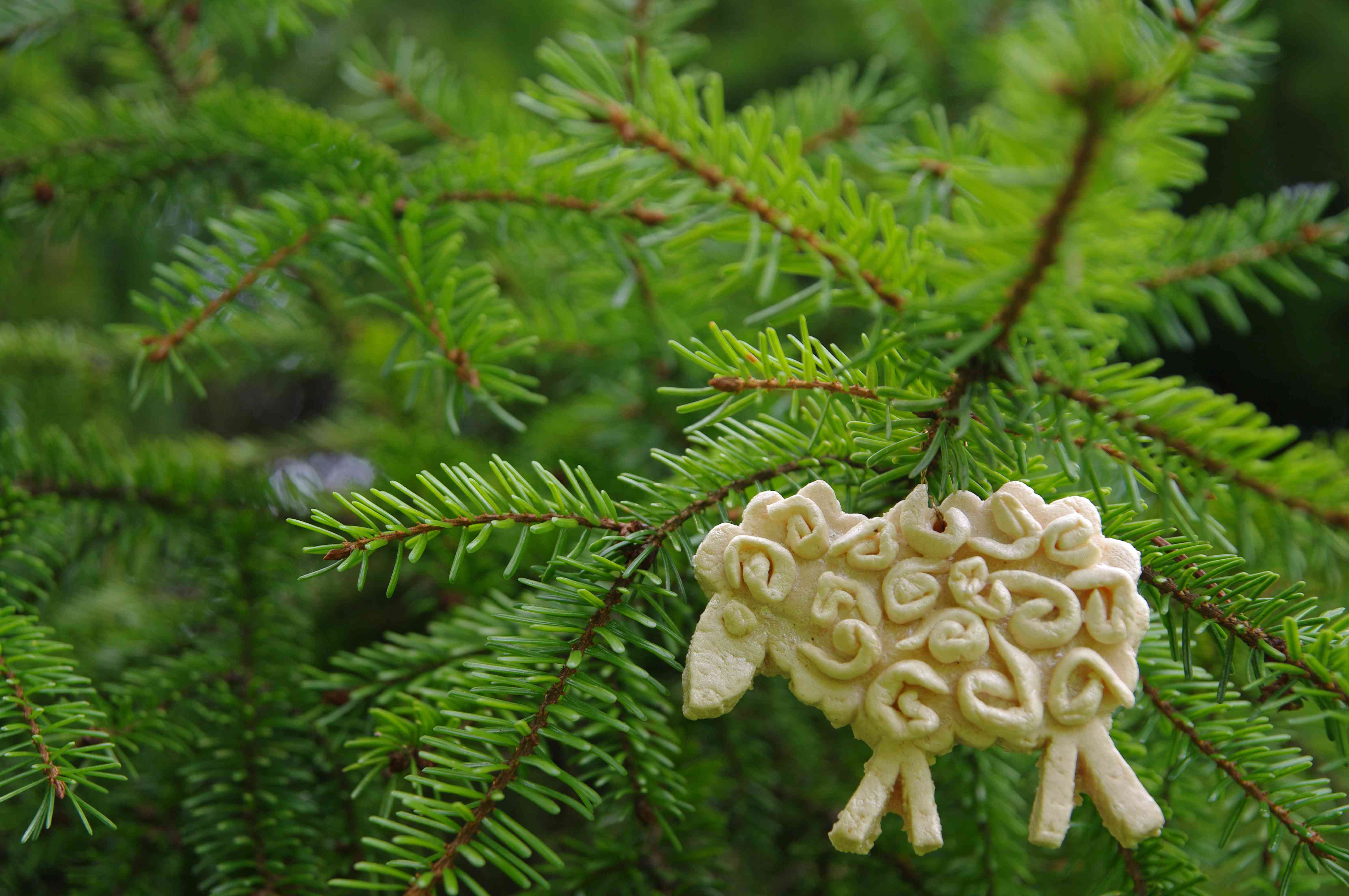 Sheep from salt dough on christmas tree