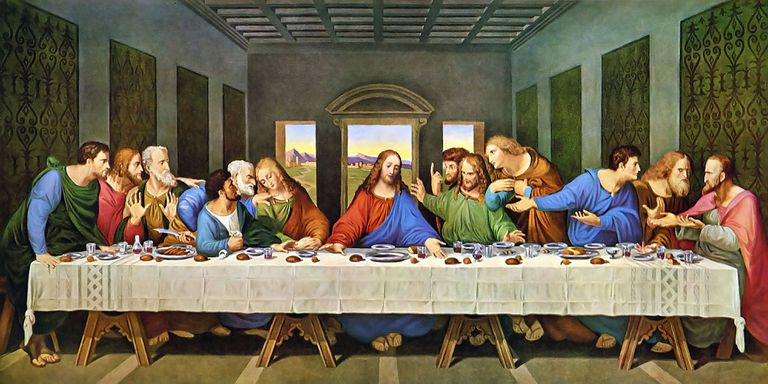 """The Last Supper"" by Leonardo da Vinci depicting Jesus and his 12 Apostles."