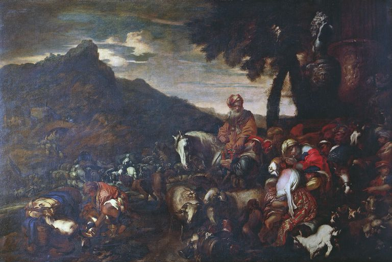 Painting of Abraham on horse among family and livestock, by Giovanni Benedetto Castiglione