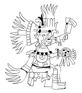 Black and white illustration of Huitzilopochtli god of sun and war depicted as warrior holding shield and staff, wearing headdress of hummingbird feathers