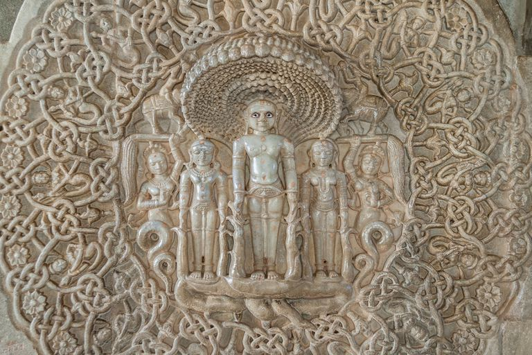 Marble sculptures in Jain temple in India
