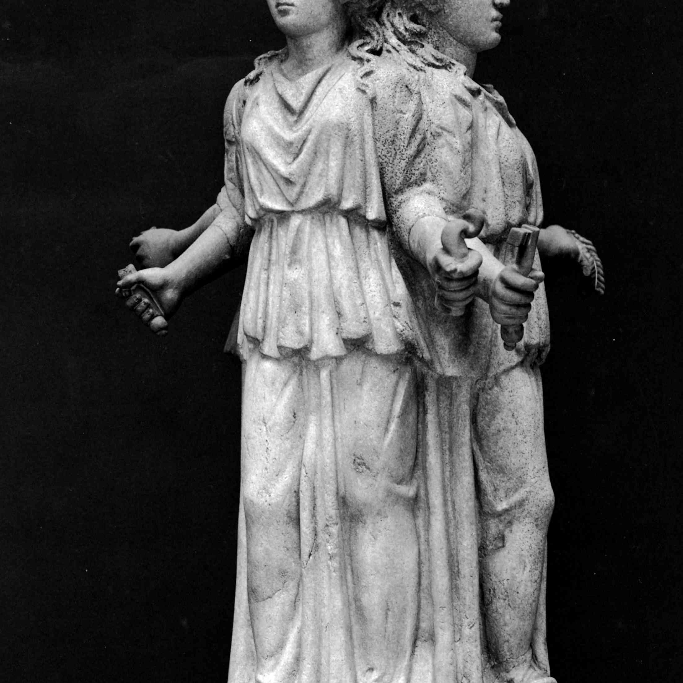 Sculpture of Hecate, an ancient fertility goddess later associated with Hades and witches.