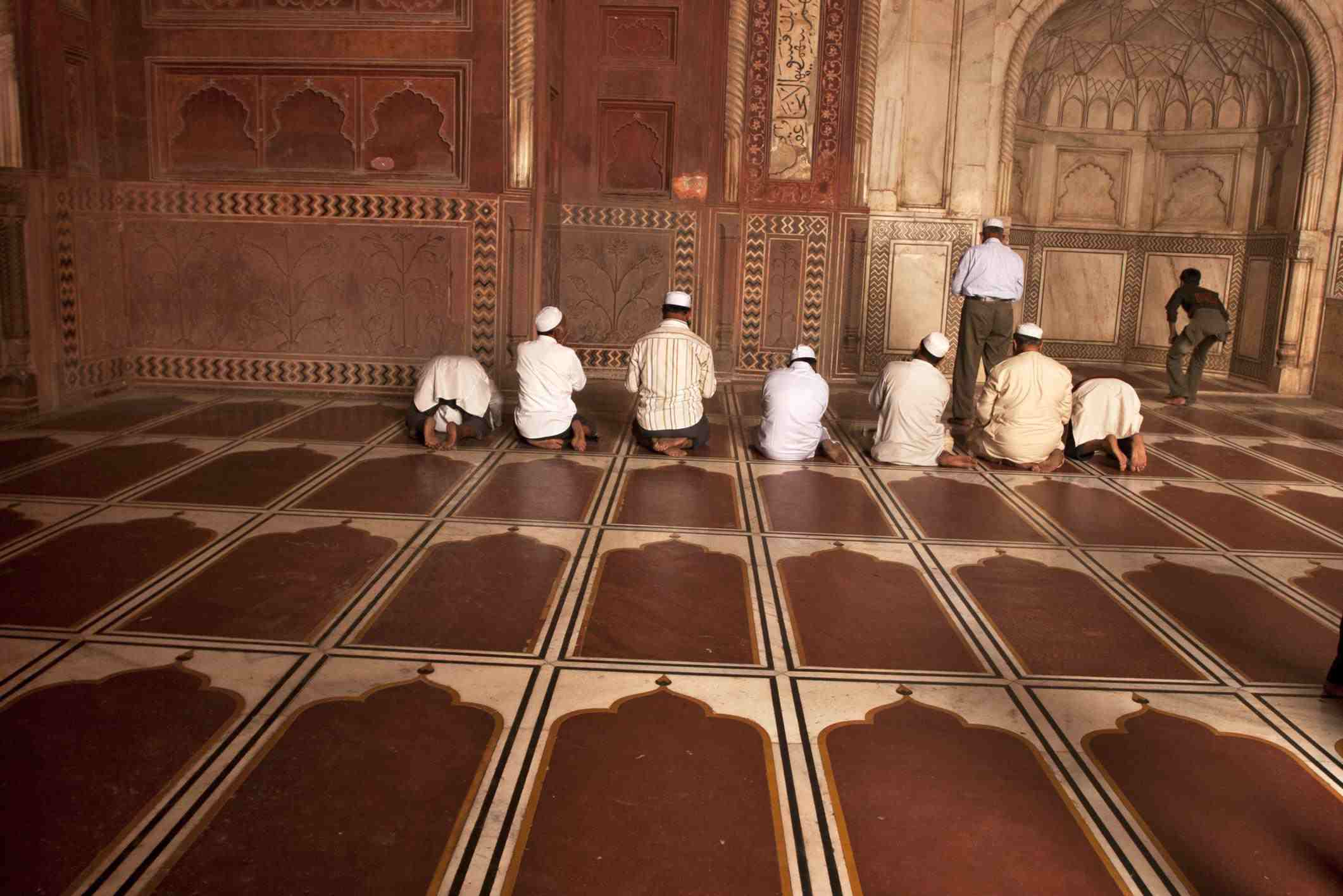 Muslims offer prayer inside Taj Mahal