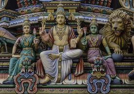 Detail of scultures at Sri Mariamman Hindu Temple