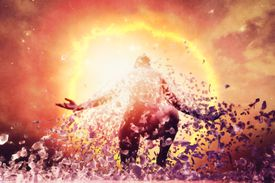 Man rising from the ashes, energy, aura, power,reincarnation