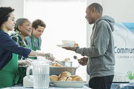 Volunteers at a soup kitchen