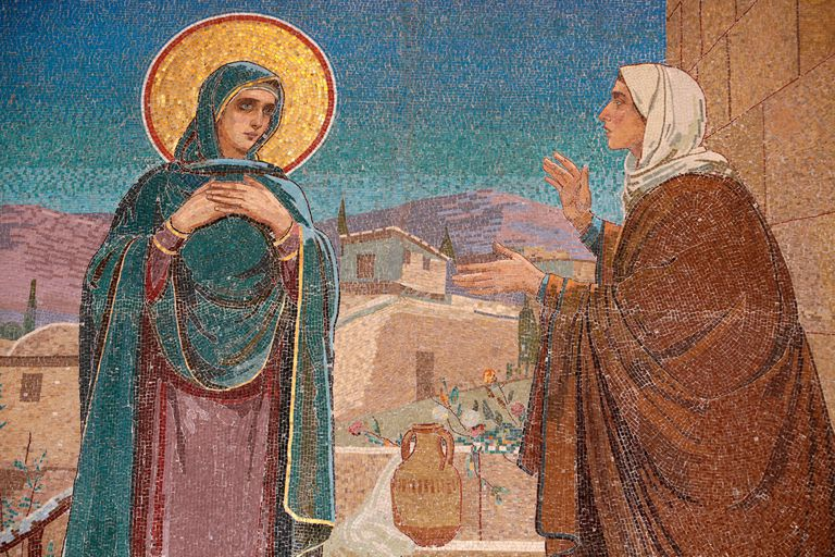 Mosaic depicting the visitation of Mary to Elizabeth