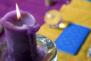 Card, candle, and crystal ball