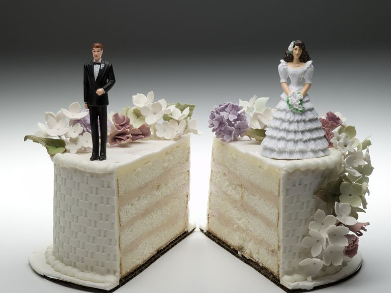Sliced Wedding Cake signifying divorce