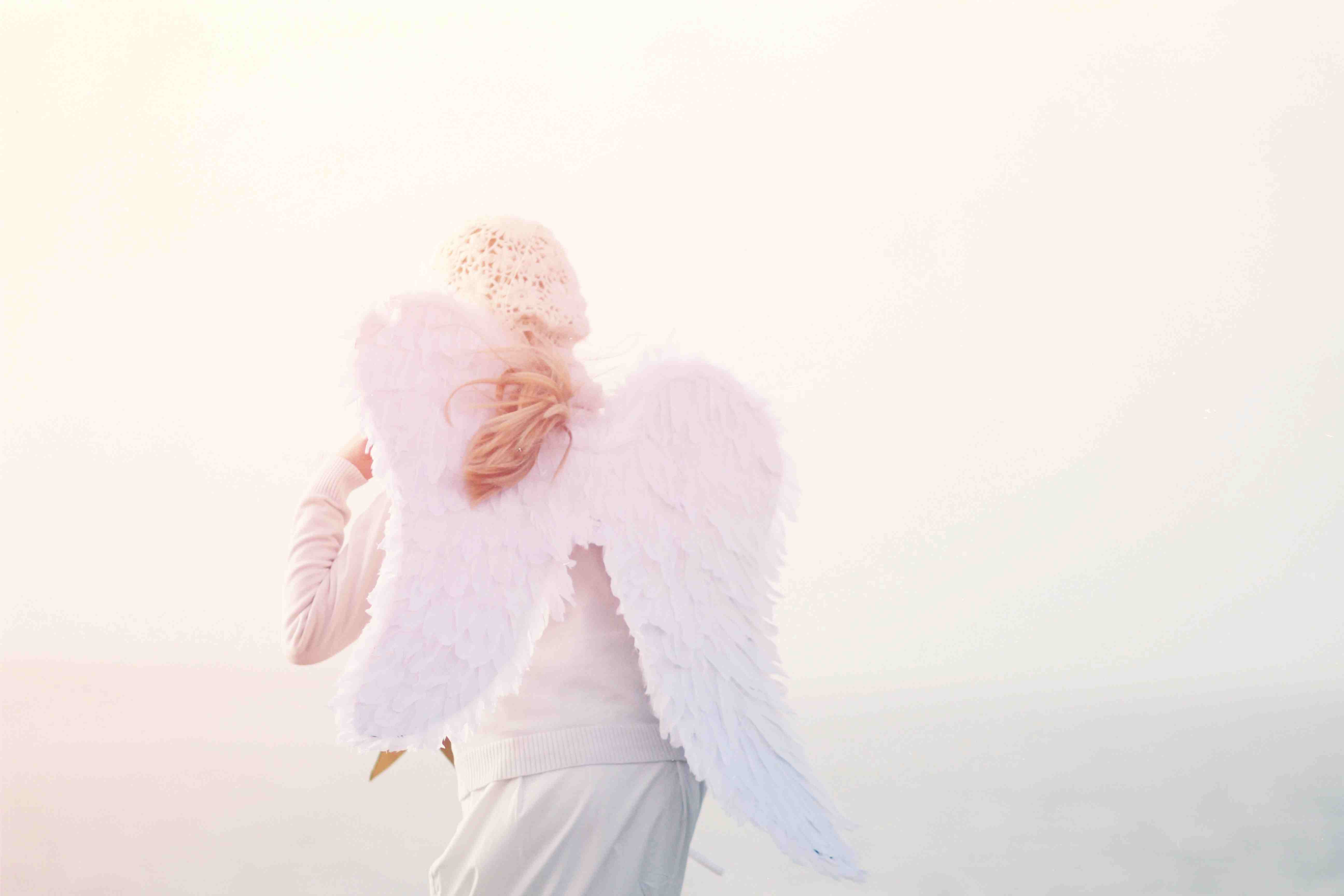 Rear View Of Girl In Angel Costume Against Sky