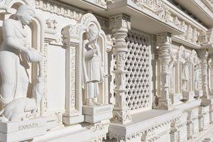 The Swaminarayan Mandir hand-carved white marble Hindu temple. Eknath and Gurunanak carvings. Toronto, Ontario, Canada.