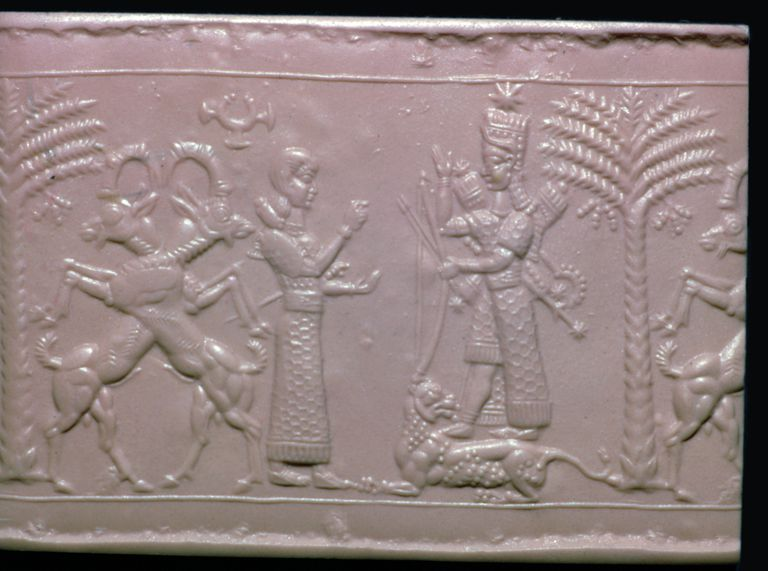 Seal showing the goddess Ishtar, Neo-Assyrian, c720-c700 BC.